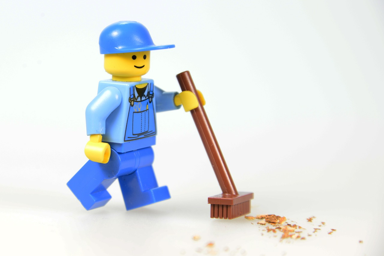 Lego figurine of a cleanup worker